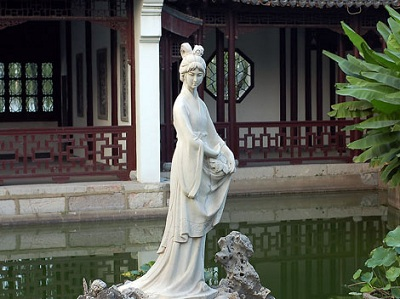 The statue of Mochou in the Lake Mochou, Stone City Scenic Area of Nanjing