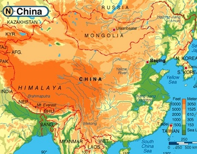 phisical map of China
