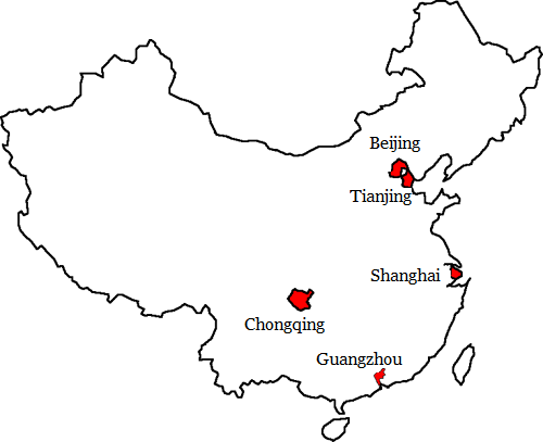 Map China Cities: Cities in China